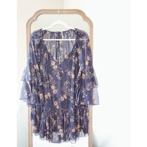 FREE PEOPLE Blue Floral Ruffle Sleeve V Neck Dress
